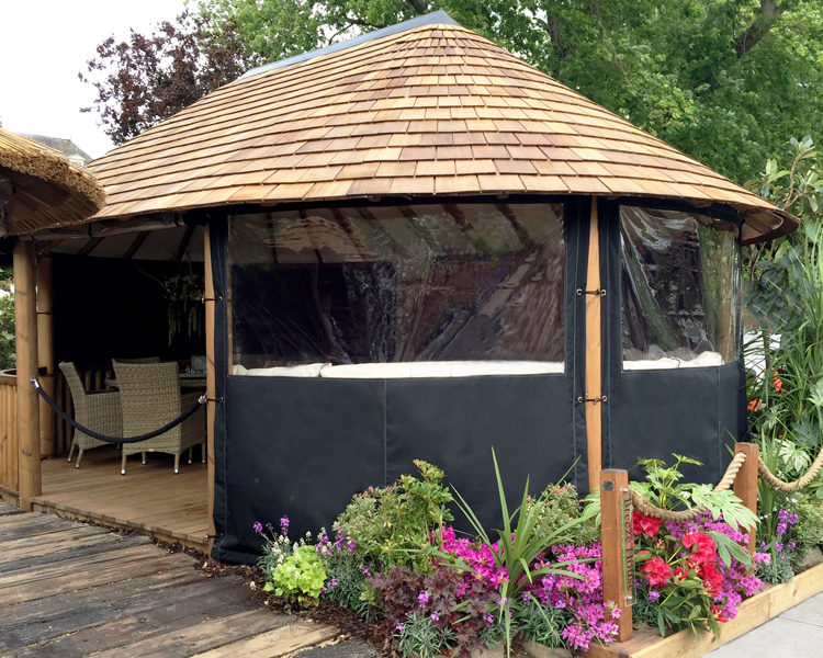 Bespoke canvas panels for oval garden structure